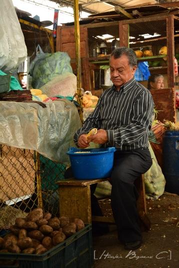 Vendedor desgrana el maíz de la mazorca.